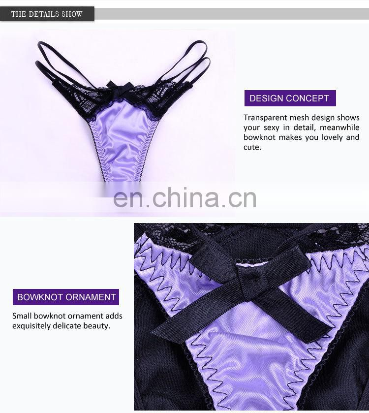 Security Payment Classical Cute Black Bowknot Cheap Thongs Stock