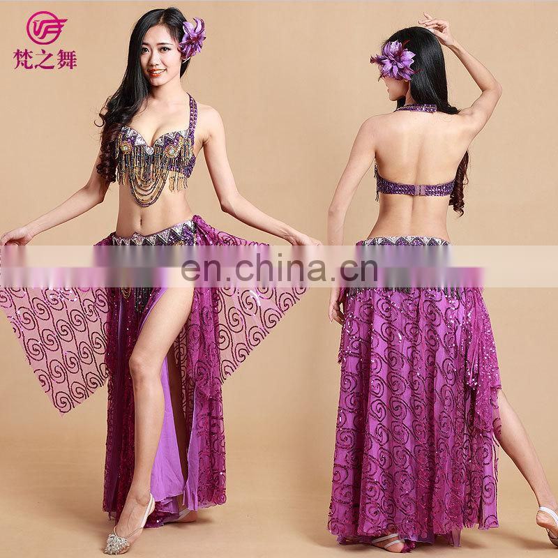 Indian beaded sexy bellydance costumes bra and belt and skirt set