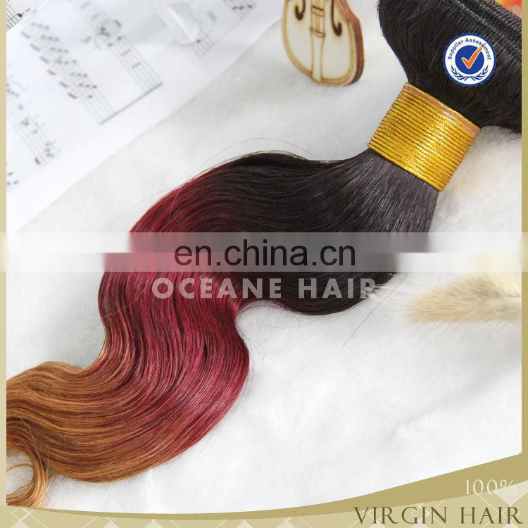 7a grade alibaba express remy virgin hair three tone ombre colored red hair weave