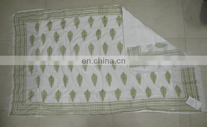 Printed cotton Pareo with cotton towel attached at back