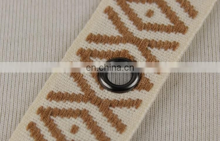 Fashionable jacquard ethnic ribbon trim with metal eyelet