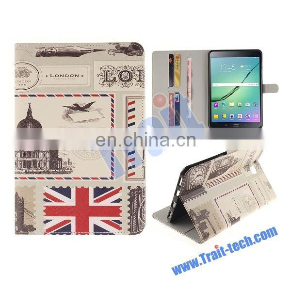 England Flag Pattern Soft TPU+ PU Leather Antiscratch Full Body Case for Samsung Galaxy Tab S2 T710