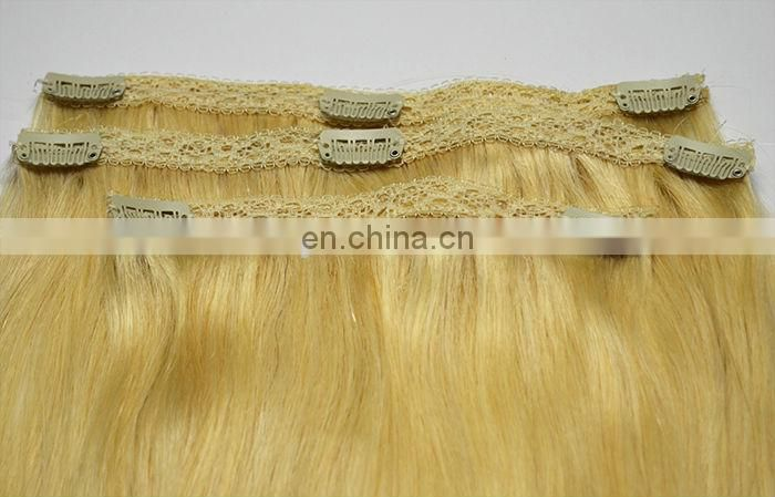 Fashion high quality virgin brazilian clip in hair extension remy human hair