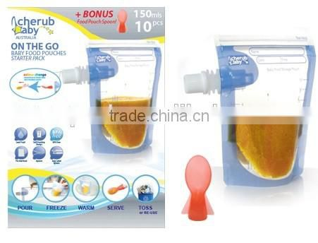 pure baby food pouch/silicone reusable food pouch/6oz Silicone Reusable Food Pouch