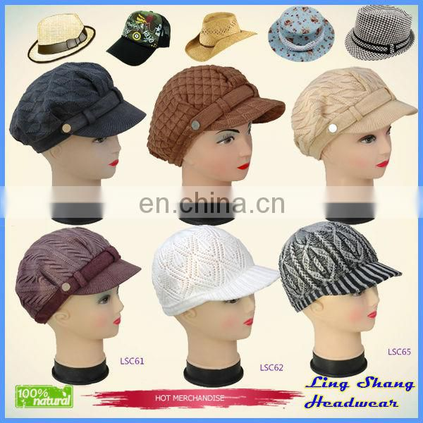 LSC54 Ningbo Lingshang High Quality Winter 100% Cotton ladies hats