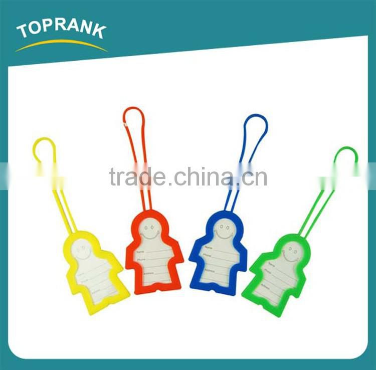 Toprank Custom Hot Sale Cute Cartoon Person Shaped Silicone Blank Luggage Tag Travel Airline Baggage Labels
