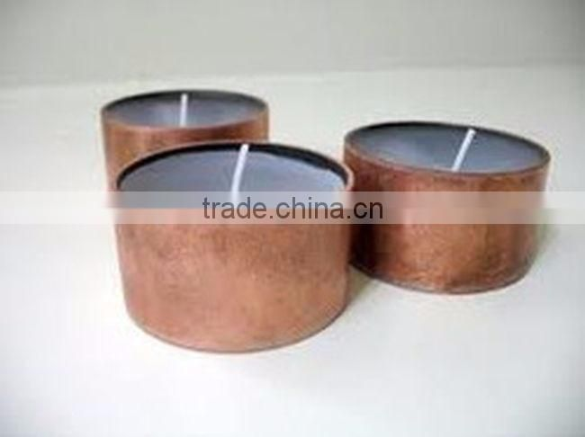 fancy copper hammerred tin candle