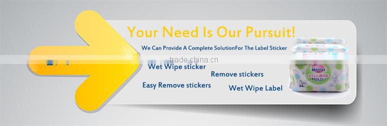 Waterproof removable adhesive sticker label paper, Baby wet wipe tissue sticker label, Easy remove adhesive stickers