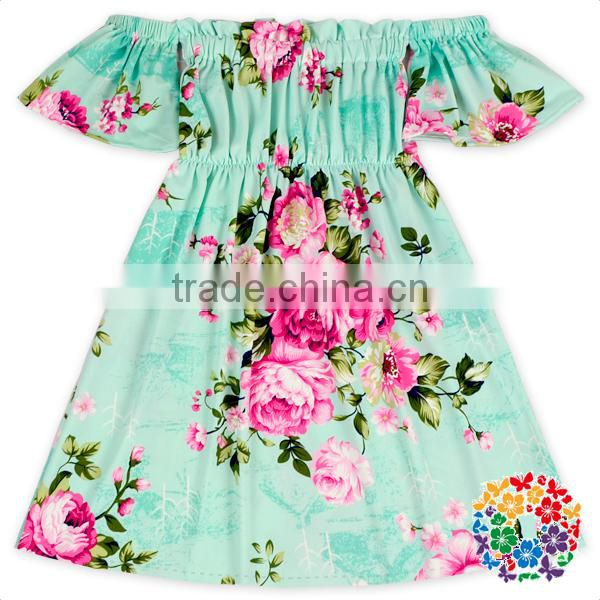 New Style Summer Party Girls Off Shoulder Porm Dress Flower Ruffle Long Dress