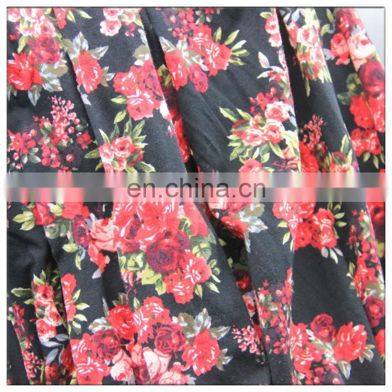 spandex cotton jersey printed fabric for ladies shirt dress