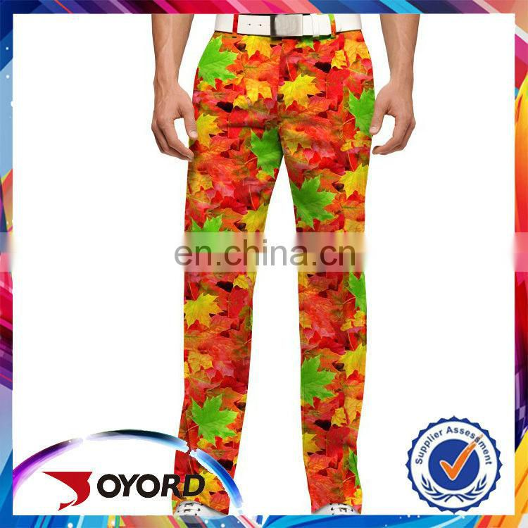 OEM Service breathable printed golf pants for wholesale