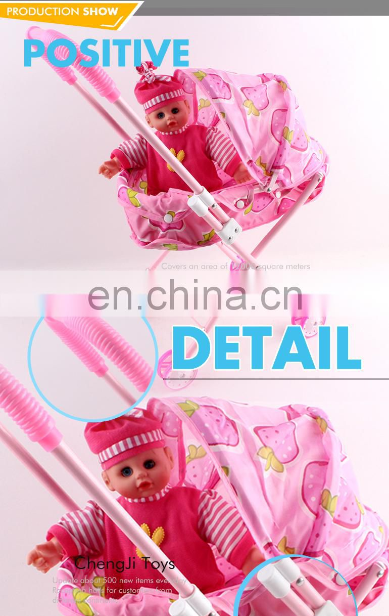 Wholesale high quality pink reborn realistic baby doll with stroller