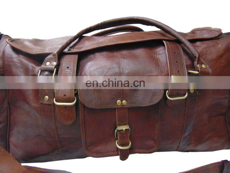 "Vintage Large Leather Holdall Duffle 28"" Square shape Duffel travel Bag"