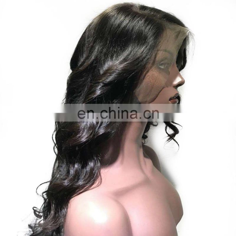 Malaysian sex girl body wave lace wig with 100% humen baby hair