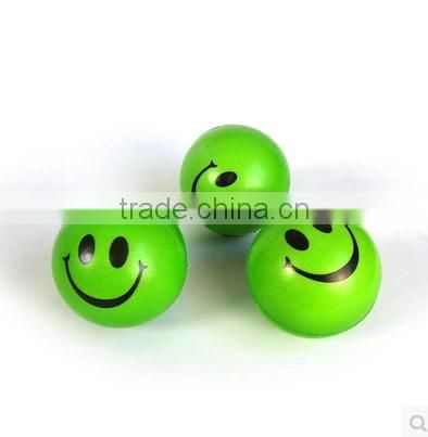 Factory outlet Yellow pu smiley stress ball/ pu anti stress toy ball