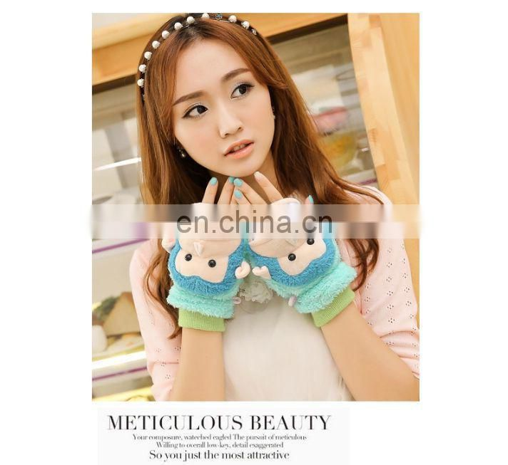 new design useful colorful warm soft women animal gloves the factory