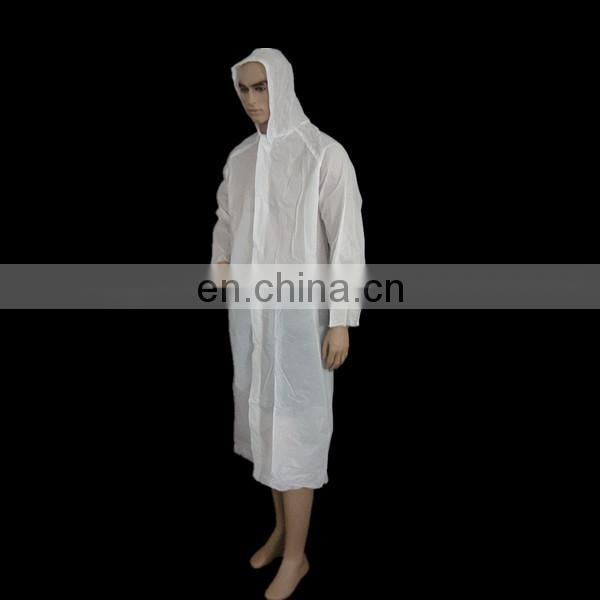 Disposable nonwoven plastic rain coat with cap elastic cuff white waterproof