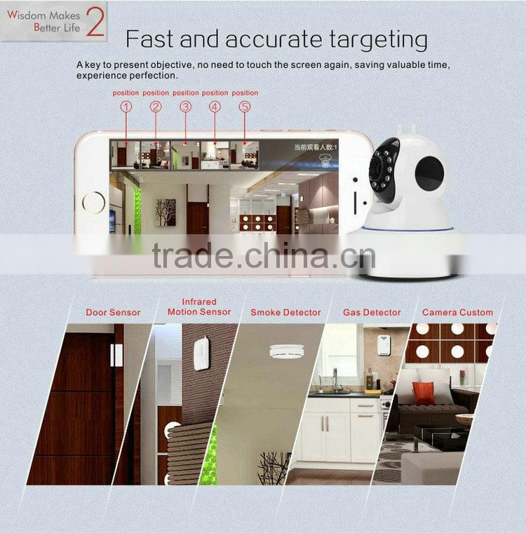 Smart Home Security Wireless Camera 433MHZ wireless alarm system support SD card mobile remote control 720P HD infrared