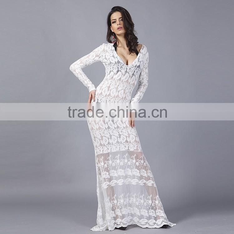 2016 Summer Hot Sexy Women Deep V Neck Full Length Party Dresses Ladies Long Sleeve White Lace See Through Dress