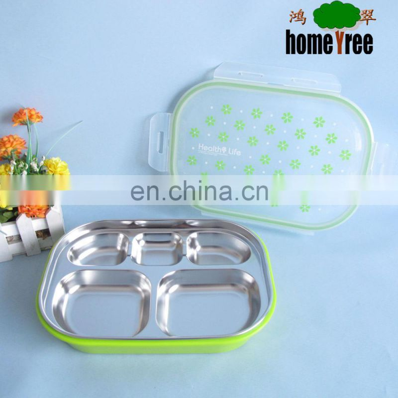 High Quality Stainless Steel 5 Compartment Lunch Plate Food Tray Plate Dish