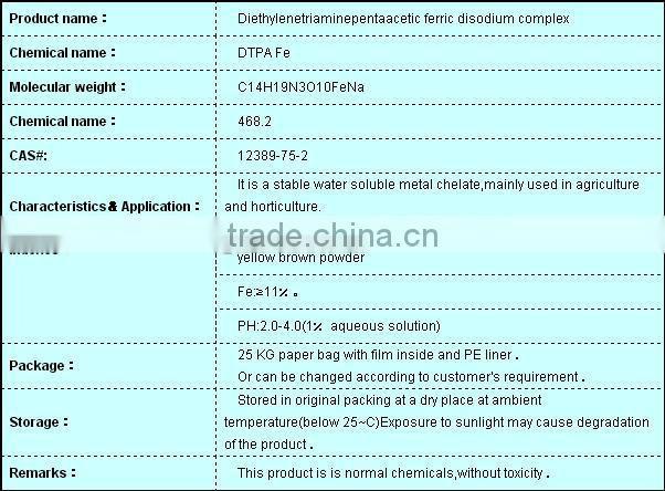 Organic Fertilizer DTPA Chelate Iron Fertilizer DTPA-FeNa 11