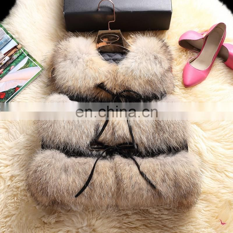 2017 fashion fur vest fluffy raccoon fur gilet popular style