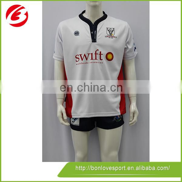 100% Polyester Sublimated Design Your Own Rugby Shirt