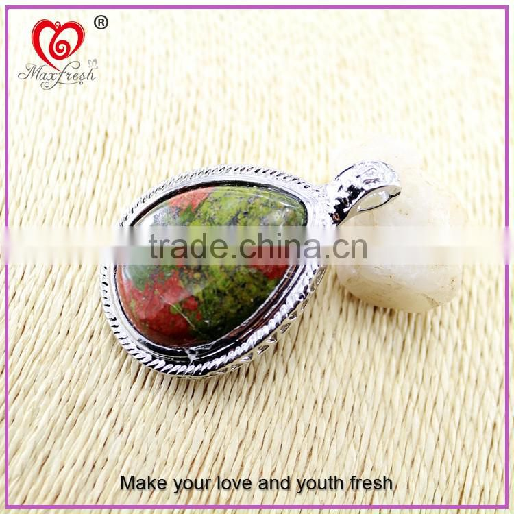 Fashion gem stone pendant jewelry stainless steel imitation jewelry popular big stone pendant design