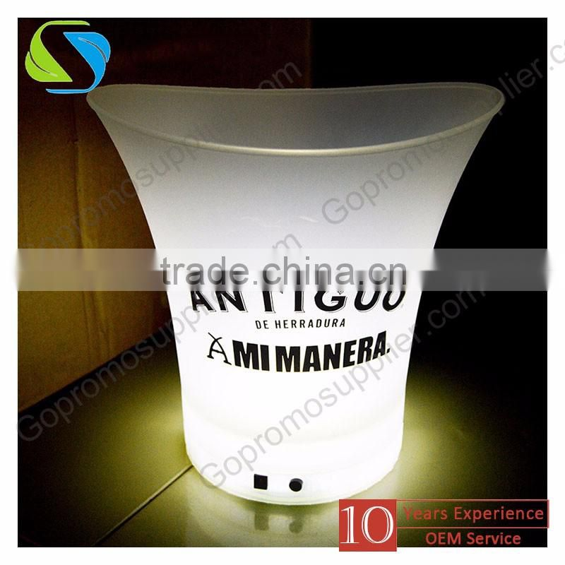 2016 factory top quality custom logo full printed rechargeable led plastic champagne ice bucket with ice cube low price moq