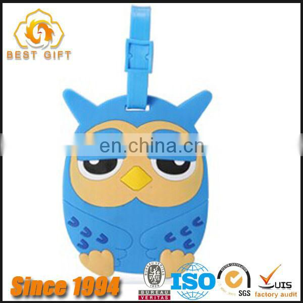 Wholesale High Quality Cute Animal Shaped PVC Luggage Tags For Kids