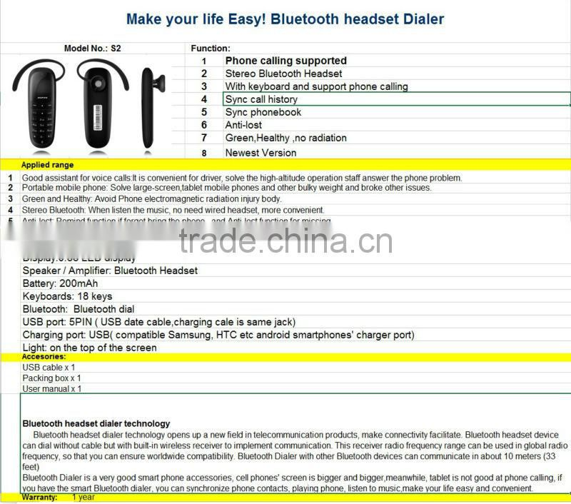 BHNS02 New product electronic GSM Mobile Phone Gadget Bluetooth Headset Dialer Listen mp3 music