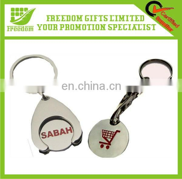 Customized Silver Metal Coin Holder Keychain