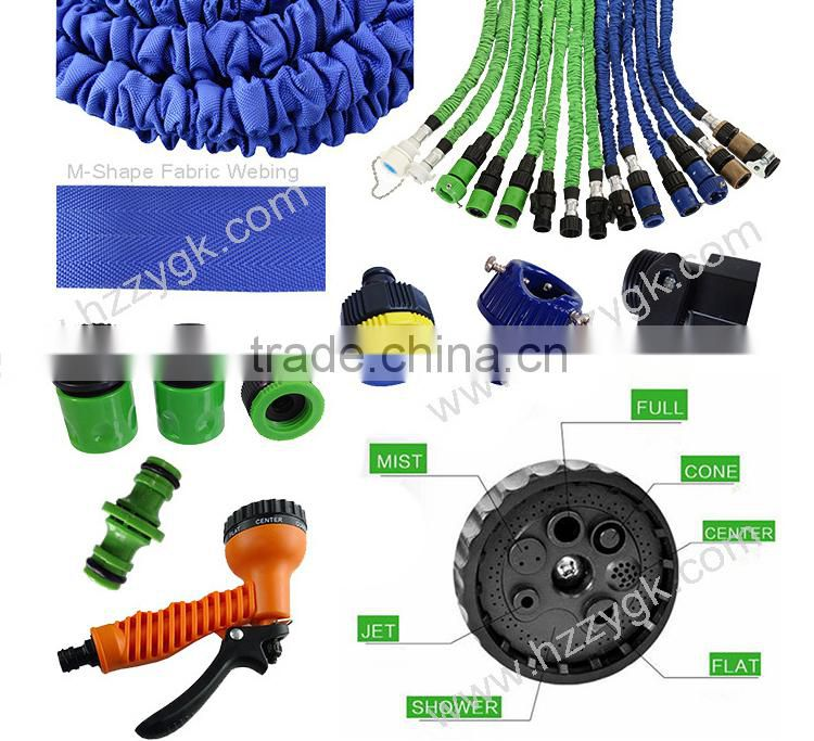 Green 25/50/75/100FT Flexible Stretch Garden Water Hose/Brass Fitting Swivel Connector/Turn Off Valve Expandable Hose Reel