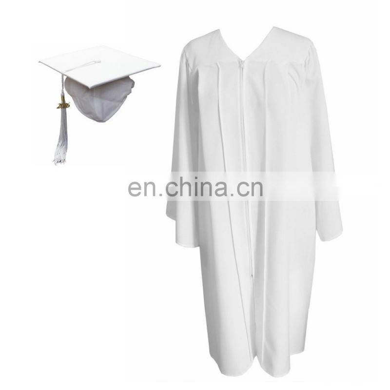 Wholesale White Graduation Matte Cap and Gown for High School
