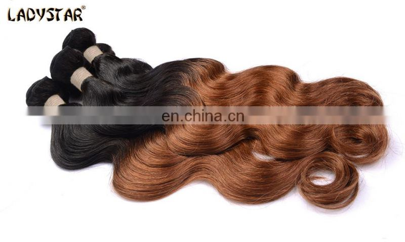 100% human hair extension body wave ombre color 1B/30 remy hair weave soft feeling