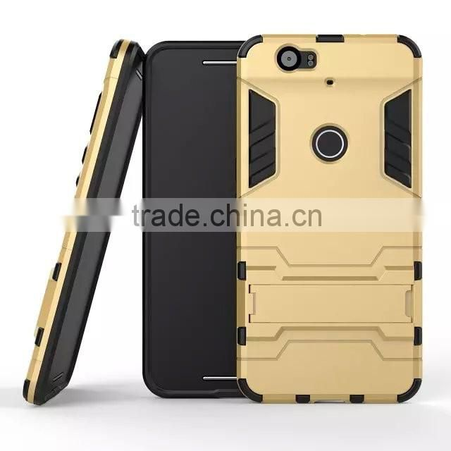 For Google Nexus 5X Hard cover 2 in 1 metal plating plastic with silicon hard stand Combo for Huawei Nexus 6P Armor back cover