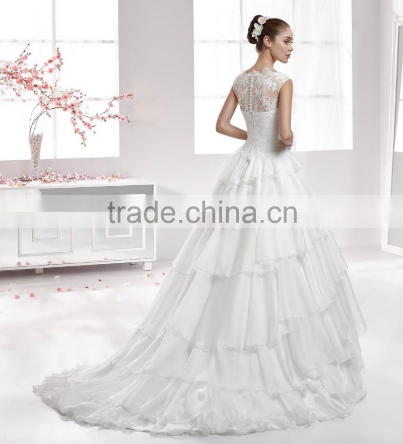 A49 Princess Tiered Big Ruffle Bridal Formal Gown Appliqued Ball Gown Floor Length Lace Chiffon Wedding Dress with Cap Sleeve