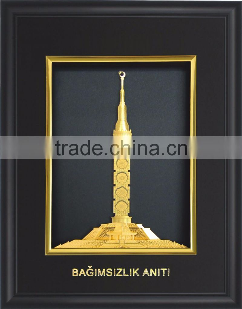 Gold foil buildings photos frame for business gift