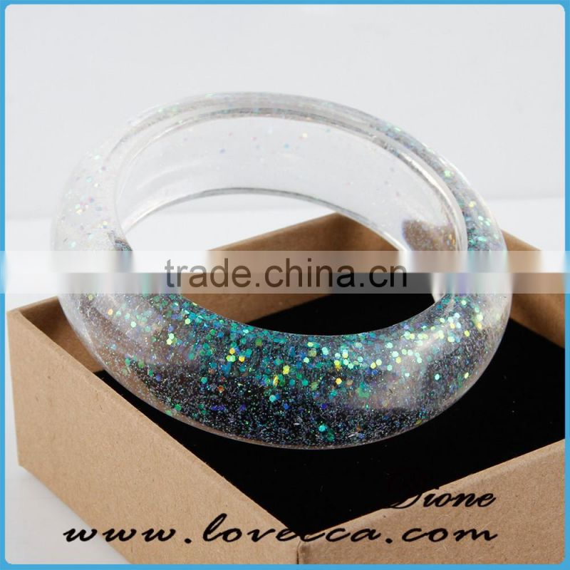 One of a kind jewelry Glow in the dark Resin bracelet Glitter Clear Lucite Bangle Bracelet