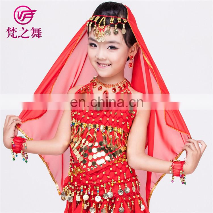 P-9055 120D Chiffon chiffon glittery children kids belly dance head veil scarf