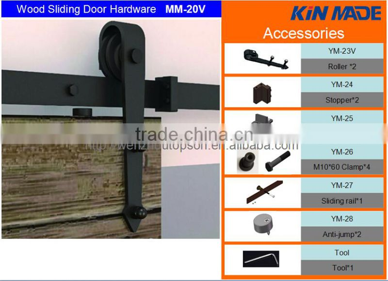 Powder Steel Barn Door Hardware Arrows shape wood door sliding system