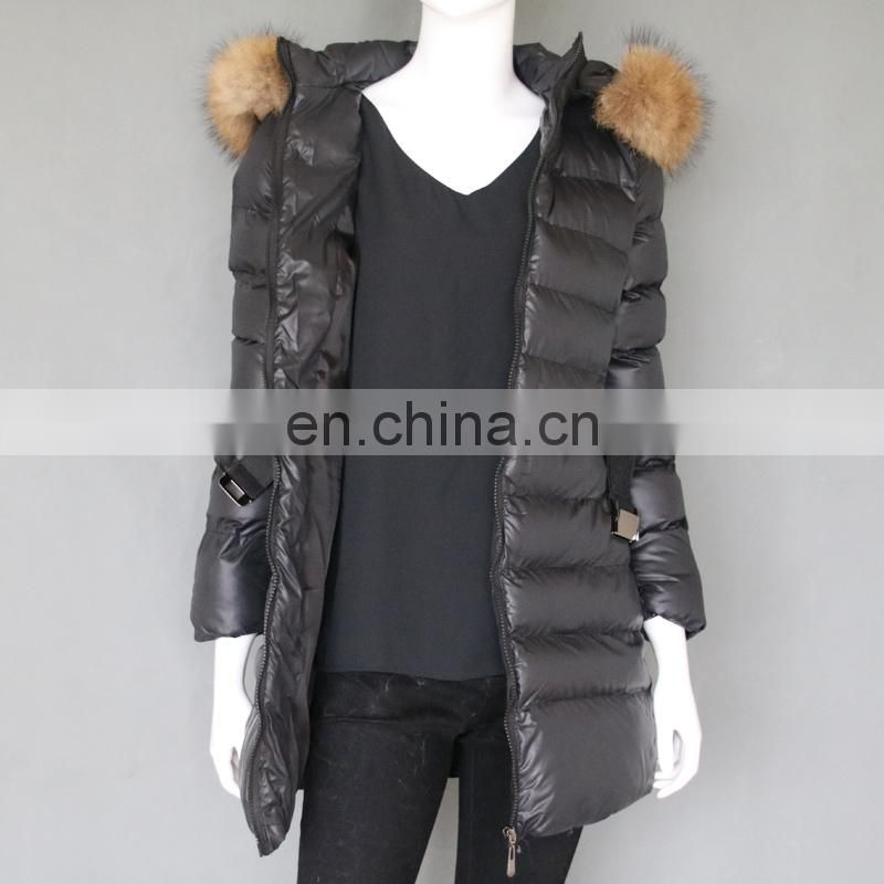 Women style winter down cotton coats long pattern raccoon fur collar hood jackets