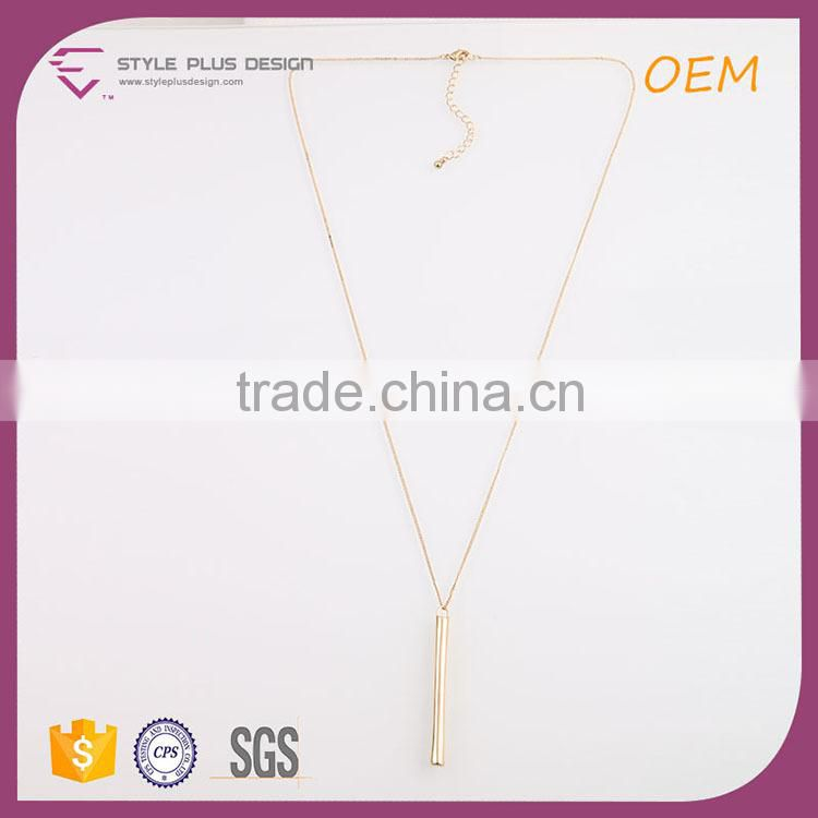 N72417S01 STYLE PLUS gold plate simple design long necklace pendant chain metal necklace