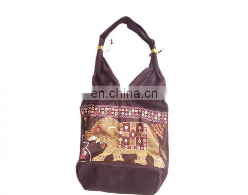 ELEPHANT PATCH EMBROIDERY CANVAS SHOULDER BAG