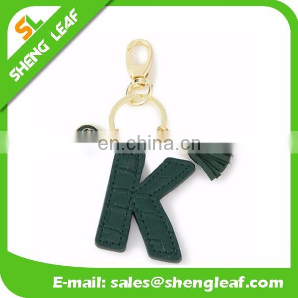 English letters shaped with colorful design leather keychains