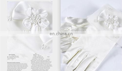 Newest Kids' High Quality Bridal Gloves For Wedding Dress Bridal Satin Gloves With Organza Cuff Pearl Bead Ribbon Bows & Flowers