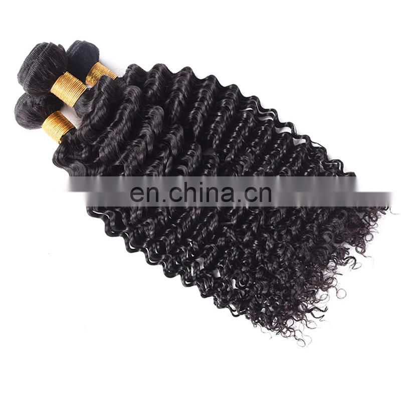 Natural color deep wave human hair weft