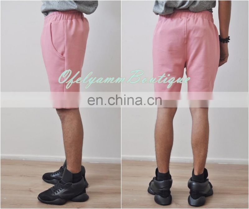 2017Off-white Men's Low Crotch Droprise Front Button Pocket Short / Casual Pink Short