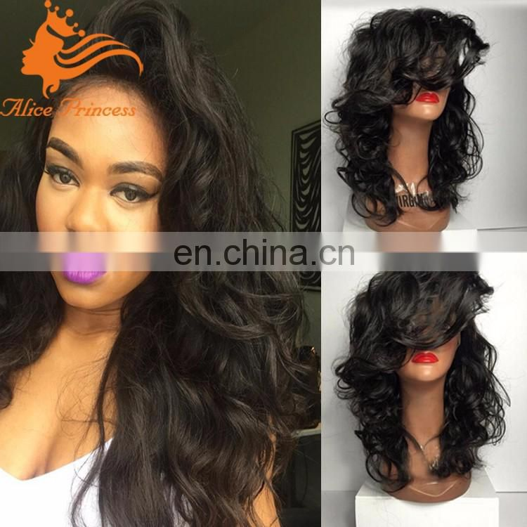 New Style Wavy Peruvian Hair Full Lace Wig With Side Bangs Virgin Human Hair Full Lace Wig In Dubai