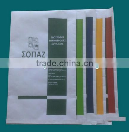 White kraft paper composit PP woven, laminated, bottom sealed for chemical raw materials, milk powder, fertlizer, seeds.